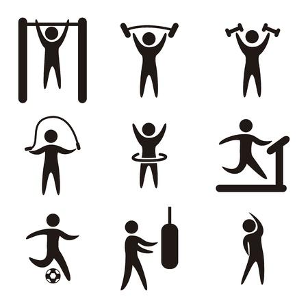 r�sistance: ic�nes de fitness sur fond blanc. illustration vectorielle