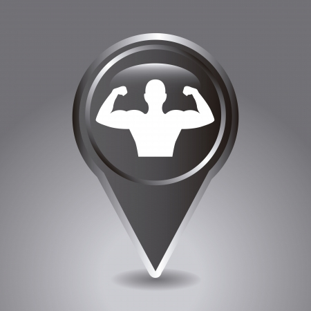 weight lifting button over gray background. vector illustration Stock Vector - 19625128
