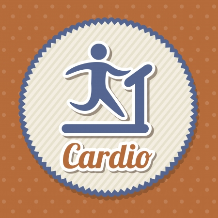 cardio sign over red background. vector illustration Stock Vector - 19625127