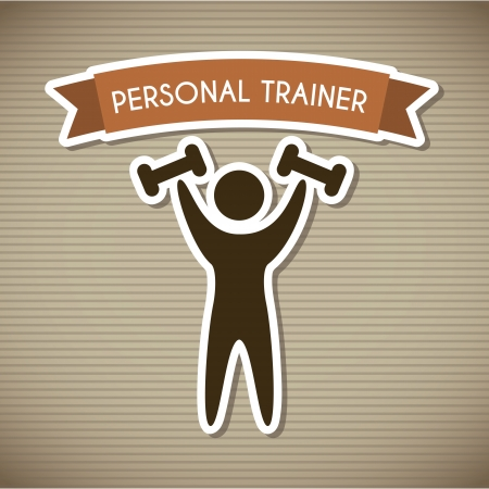 aerobic training: personal trainer over brown background. vector illustration