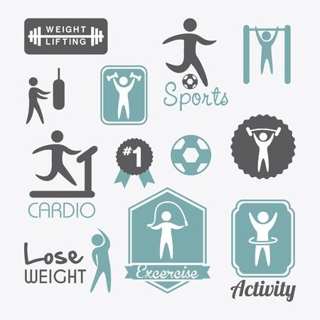 weights: etichette di fitness su sfondo bianco. illustrazione vettoriale Vettoriali