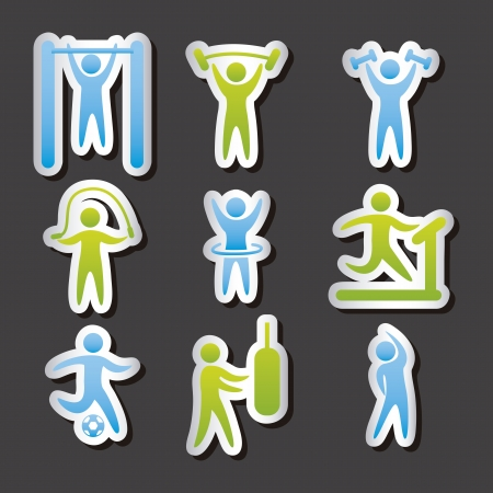 activity icon: fitness labels over gray background. vector illustration