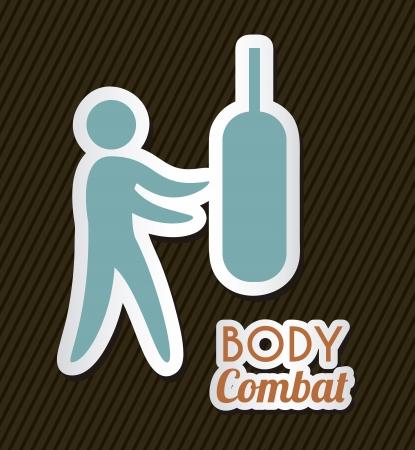 body combat over black background. vector illustration