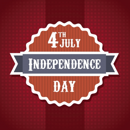 independence day illustration over red background. vector Vector
