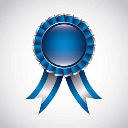 blue award ribbon over gray background. vector illustration Vector