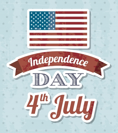 independence day illustration over blue background. vector Vector