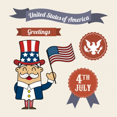 independence day illustrations over beige background. vector Vector