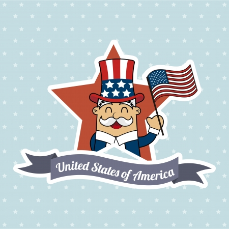 uncle sam illustration over blue background. vector Vector