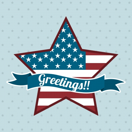 greetings with star label, independence day. vector illustration Vector
