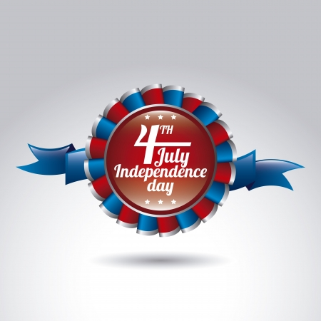 american history: award ribbon of independence day over gray background. vector