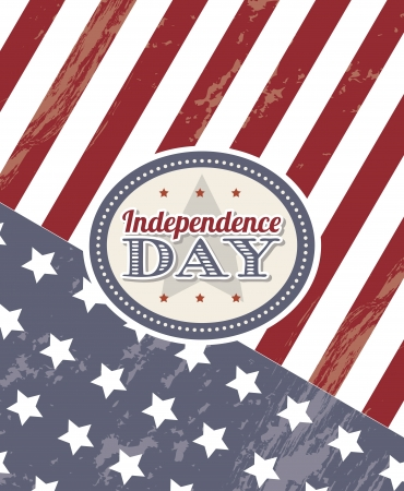 independence day label over flag background. vector Vector