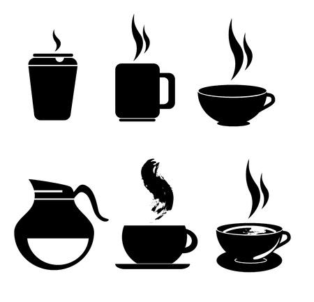 chicchi caff� su sfondo bianco: Icone di caff� su sfondo bianco, illustrazione vettoriale