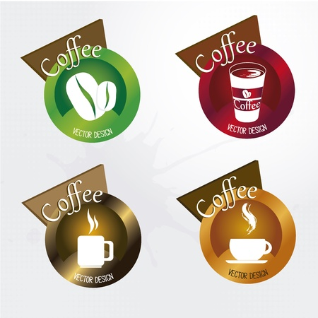 green coffee beans: Coffee icons over white background vector illustration Illustration
