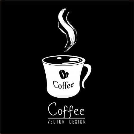 macinino caffè: Tazza di caff� con l'aroma su sfondo nero Vettoriali