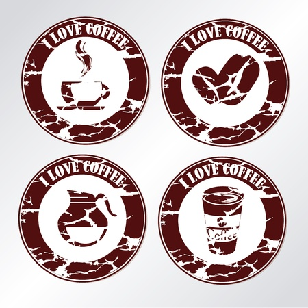 Coffee grunge seal over white background vector illustration Vector