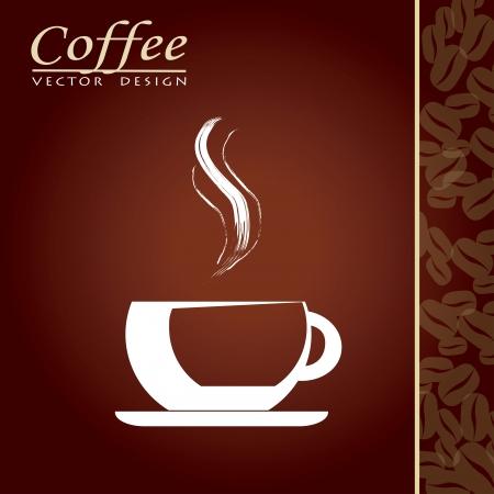molinillo: Taza de caf� con aroma sobre fondo marr�n ilustraci�n vectorial
