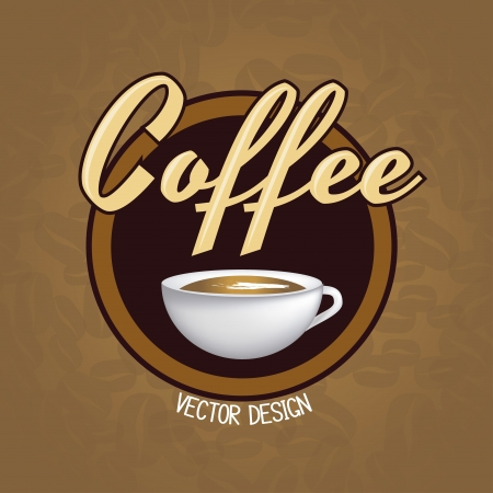 latte art: Coffee cup over brown and bean background vector illustration Illustration