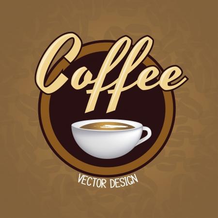 grinder: Taza de caf� sobre fondo marr�n y frijol ilustraci�n vectorial
