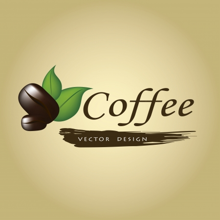 coffee maker: Coffee label with bean and leaf over vintage background vecto rillustration Illustration