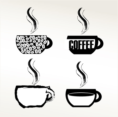 black and white coffee icon over white background vector illustration Vector