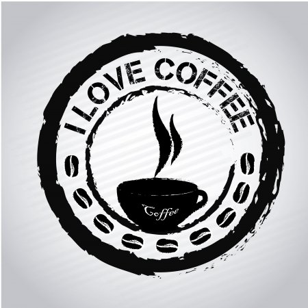 I love coffee seal over white background vector illustration Vector