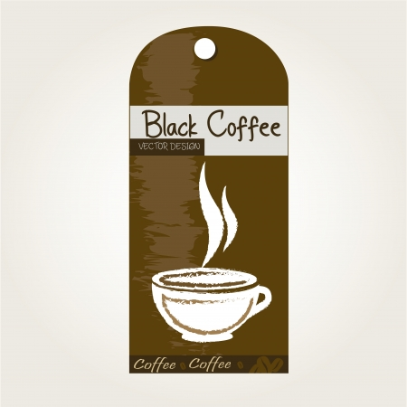 mocca: Black coffee tag over white background vector illustration Illustration