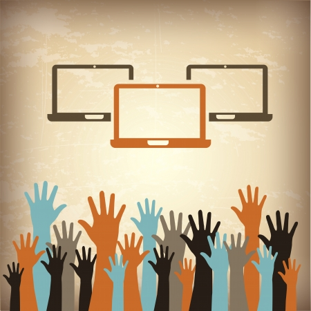 laptops and hands over vintage background illustration Vector