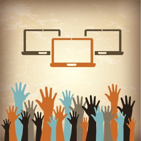conection: ordenadores port�tiles y las manos m�s de cosecha ilustraci�n de fondo