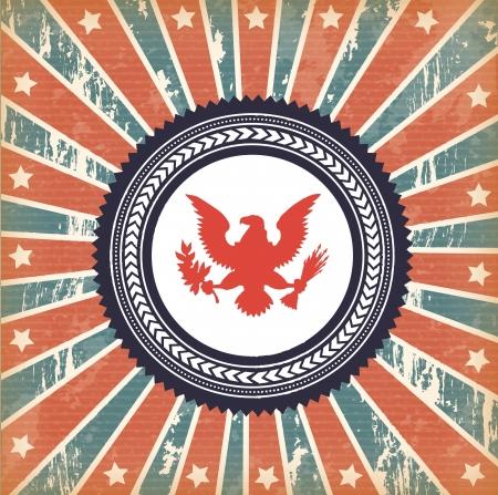 flag and eagle over vintage background illustration Vector
