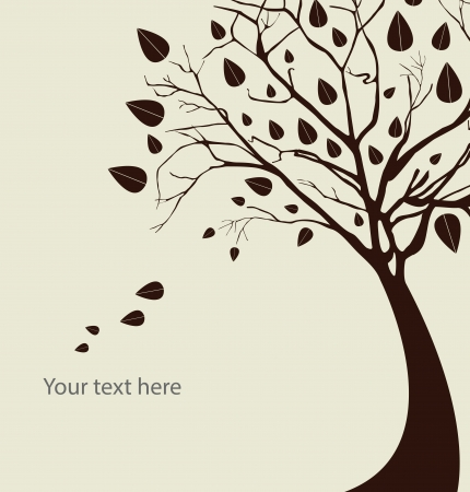 Autumn tree silhouette over white background illustration Vector