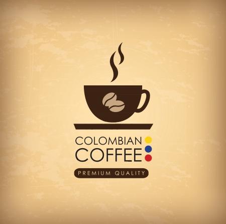 cafe colombiano: Caf?olombiano cosecha ilustraci?obre fondo