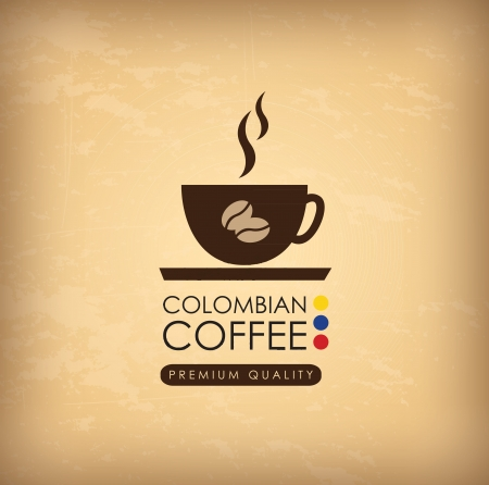 colombian food: Colombian coffee over vintage background illustration Illustration