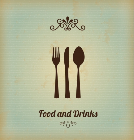 food and drinks over vintage background illustration Vector