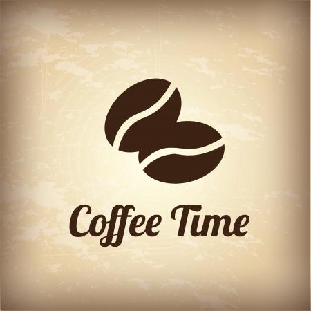 chicchi di caff?: chicchi di caffè su sfondo vintage illustrazione