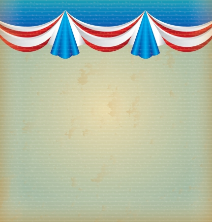 blue red and white curtain over vintage background  Vector