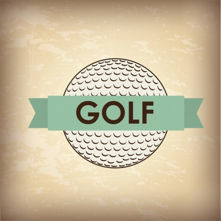 golf ball over vintage background illustration Vector