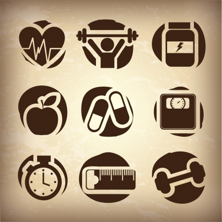 health icons over vintage background vectro illustration
