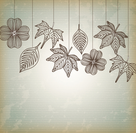 hanging tree leaves over vintage background illustration Vector
