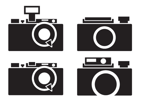 camera icons over white background illustration Vector