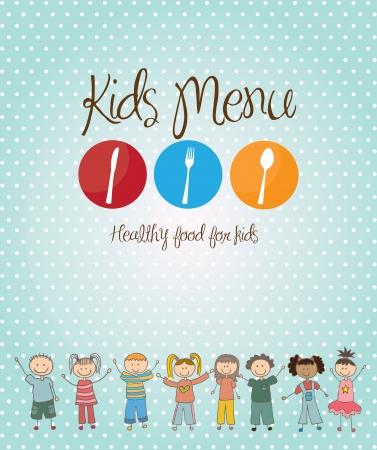 niños cocinando: menú infantil sobre azul ilustración de fondo Vectores