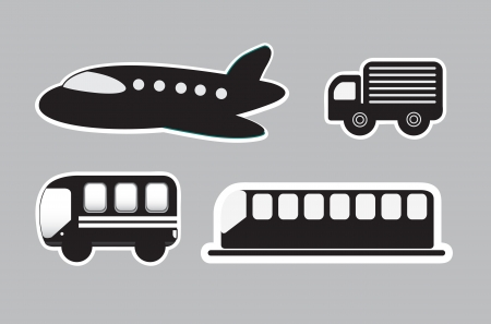 means of transport: means transport over gray background illustration