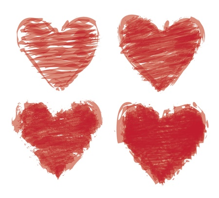 painted hearts over white background illustration Vector