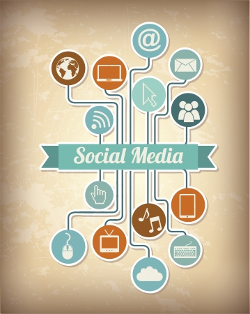 social media icons over vintage background illustration Stock Vector - 19674200