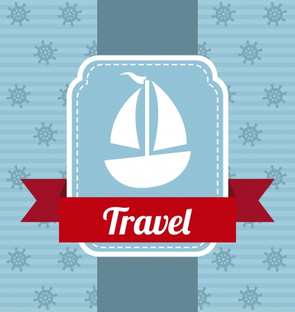 deportes nauticos: iconos barco con la cinta sobre azul ilustraci�n de fondo