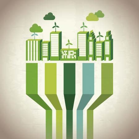 save the environment: Industry sustainable development over beige background.