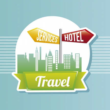 hotel service sign over retro vintage background illustration Stock Vector - 19674444