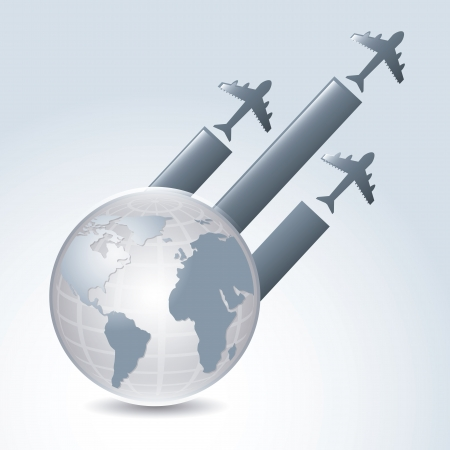 global flights over gray background illustration Vector