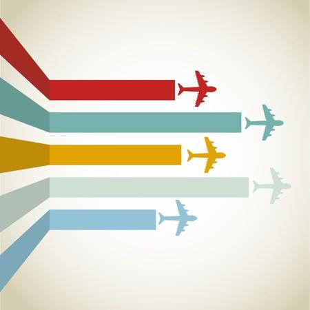horizontal Aircraft line over vintage background illustration
