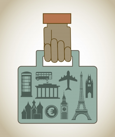 monuments briefcase over vintage background illustration Vector