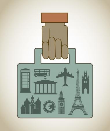 corcovado: monuments briefcase over vintage background illustration Illustration